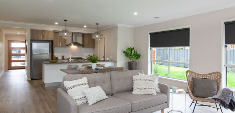 CAVALIER HOMES ALBURY WODONGA DISPLAY HOME KITCHEN/LIVING  | PHOTO CREDIT: CAVALIER HOMES AW
