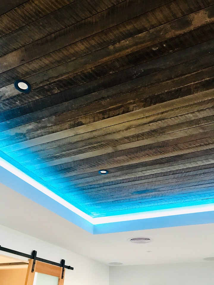Custom LED strip lighting in a bulkhead | Photo Credit: Byers Electrical