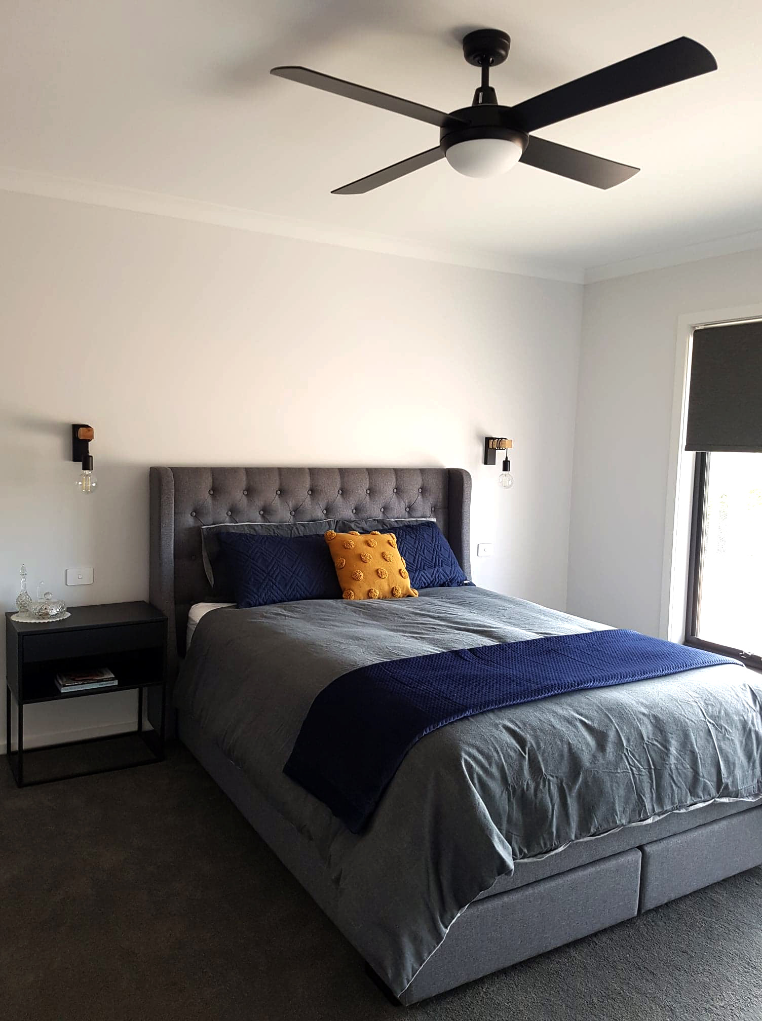 BEDROOM - FAN AND WALL LIGHTS